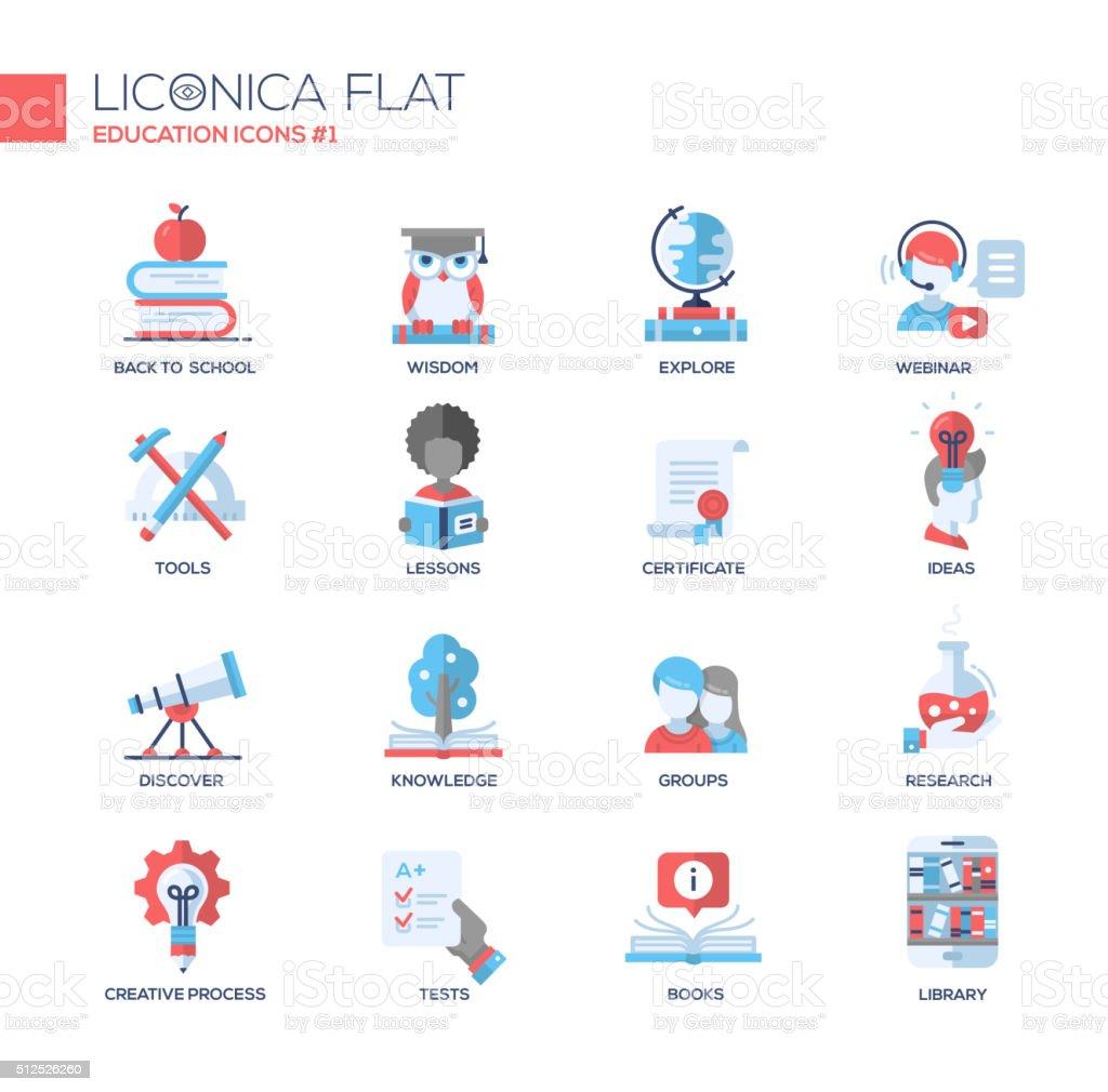 Moderne de l'école et l'éducation en ligne ténue icônes, des pictogrammes - Illustration vectorielle