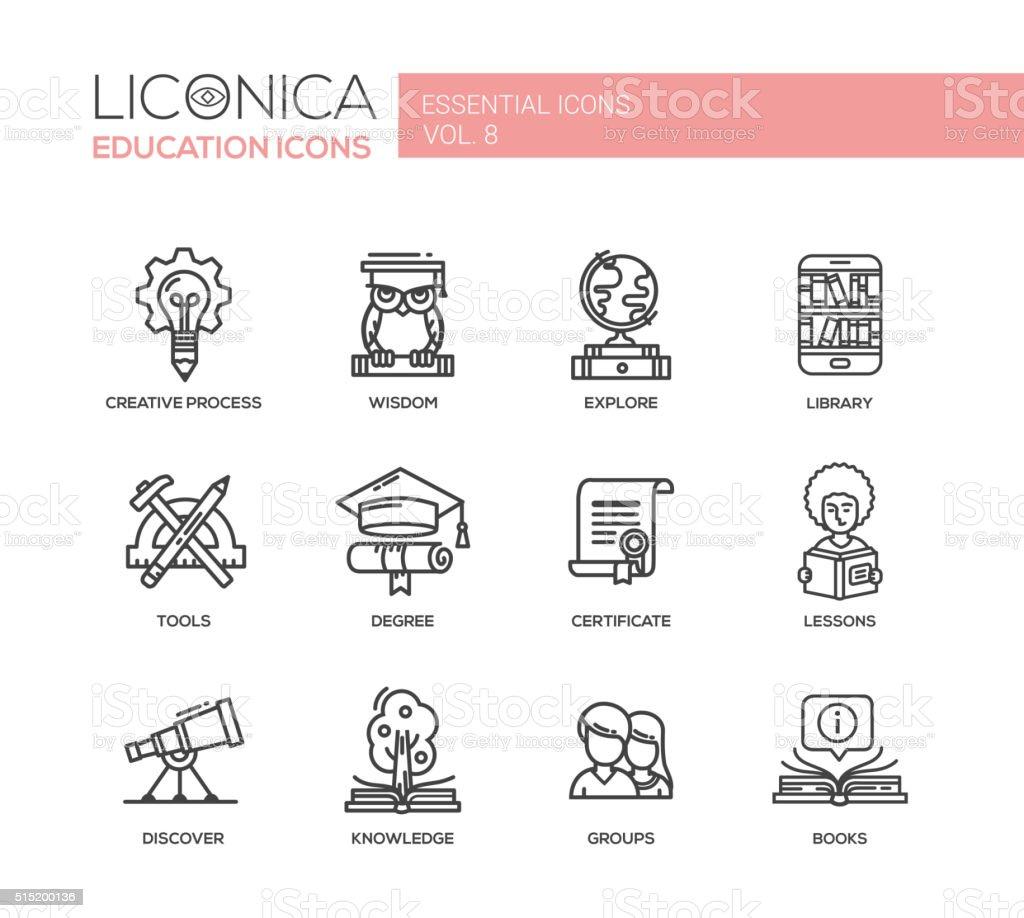 Moderno delgada línea de escuela y educación iconos y pictogramas de diseño - ilustración de arte vectorial