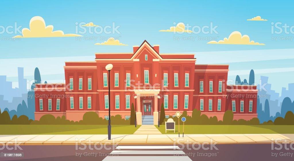 Bâtiment de l'école moderne extérieur avec passage pour piétons Bienvenue retour au Concept de l'éducation - clipart vectoriel de Affaires Finance et Industrie libre de droits