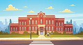 Modern School Building Exterior With Crosswalk Welcome Back To Education Concept Flat Vector Illustration