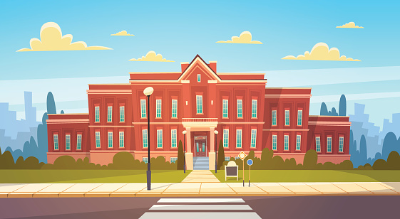 School exterior stock illustrations