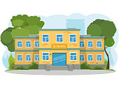 modern school building, the main entrance and front yard. vector illustration.