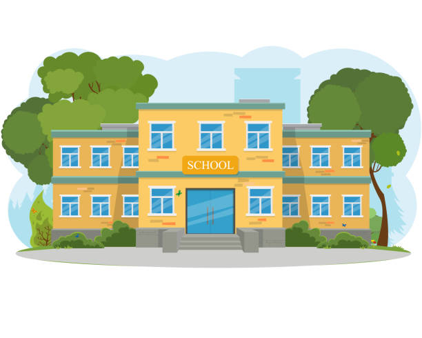 illustrazioni stock, clip art, cartoni animati e icone di tendenza di moderno edificio scolastico, l'ingresso principale e cortile anteriore. - scuola