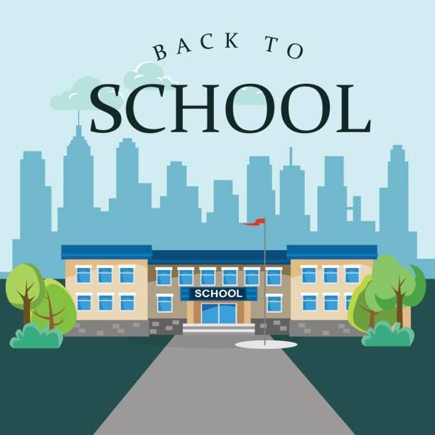 moderne schule gebäude außen, student city-konzept, grundschule fassade städtischen straße hintergrund, symbol-vektor-illustration - grundschule stock-grafiken, -clipart, -cartoons und -symbole