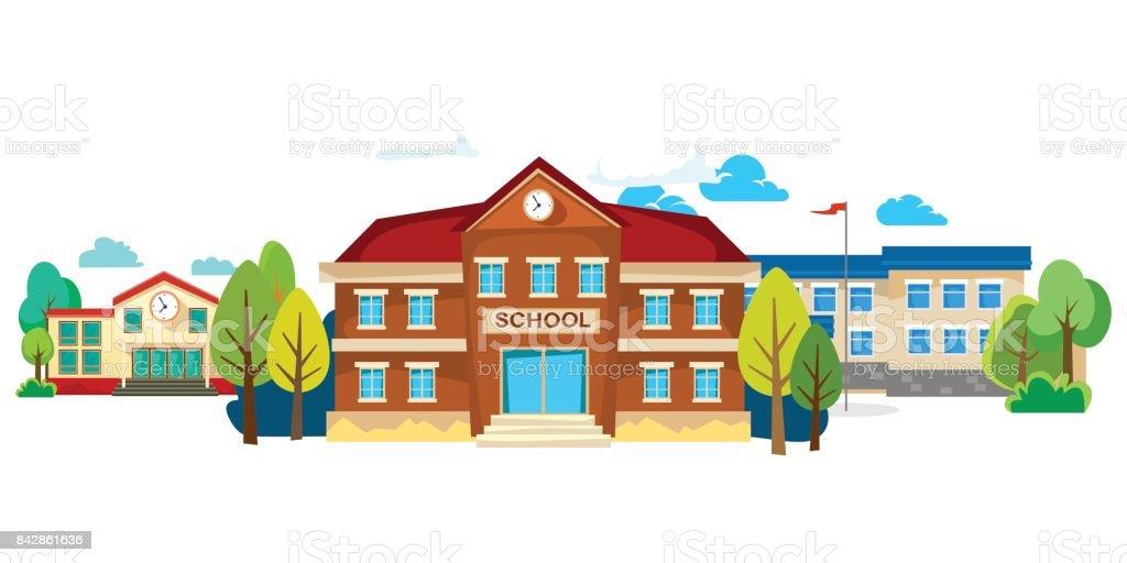 exterior de edificios de escuela moderna, concepto de ciudad estudiantil, urbano Calle fondo de la escuela primaria fachada, icono vector ilustración - ilustración de arte vectorial