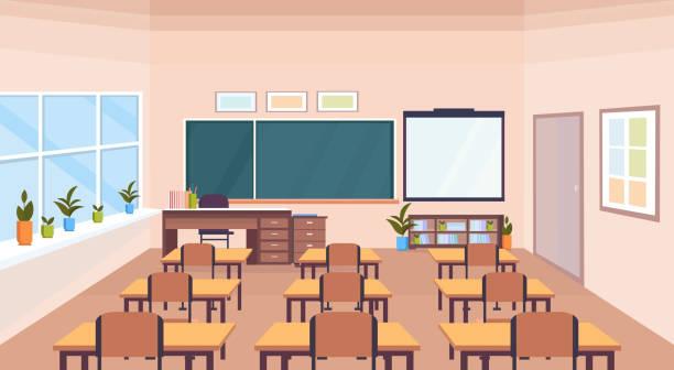 bildbanksillustrationer, clip art samt tecknat material och ikoner med moderna skolan klass rummet interiör krita ombord skriv bord tom inga människor horisontella banner platt - klassrum
