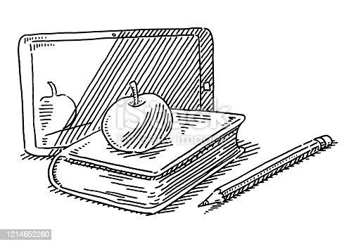 Modern School Items Apple Book Tablet PC Drawing
