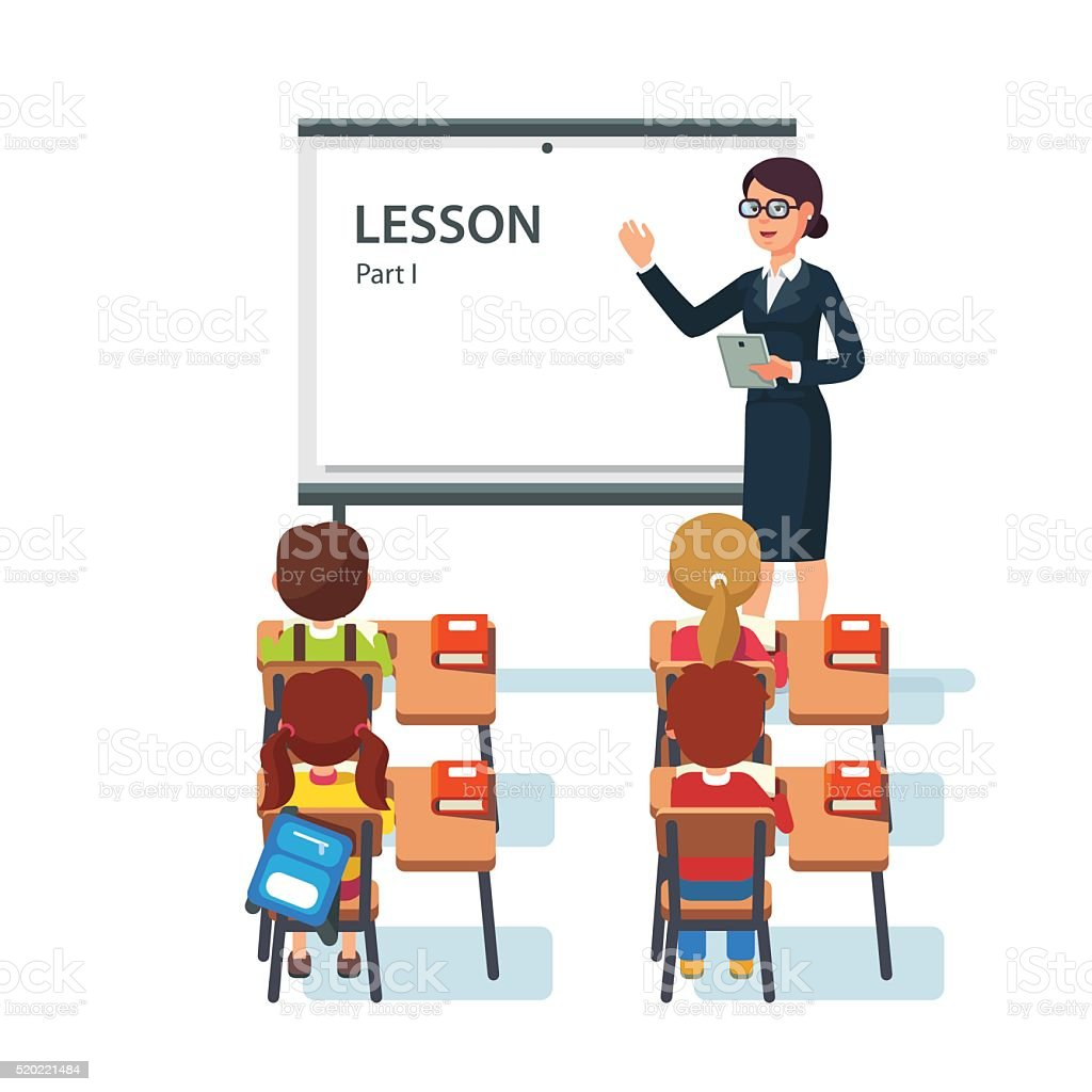Modern Classroom Lesson Indicators ~ Modern school lesson little students and teacher stock
