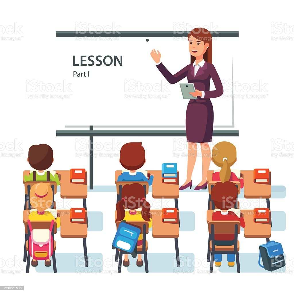 Modern school lesson. Little students and teacher vector art illustration