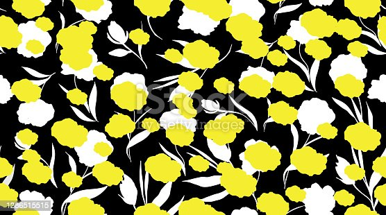 modern seamless floral pattern. white and yellow flowers on black background. vector illustration