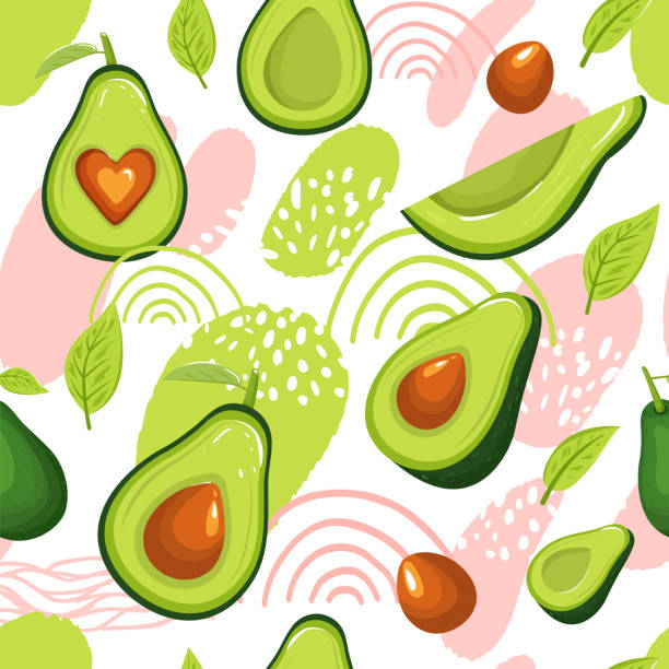 Modern seamless pattern with avocado fruits and abstract elements. Modern seamless pattern with avocado fruits and abstract elements. Creative floral collage. Vector texture for textile, scrapbooking, wrapping paper, packaging etc. Vector illustration on white background. avocado patterns stock illustrations