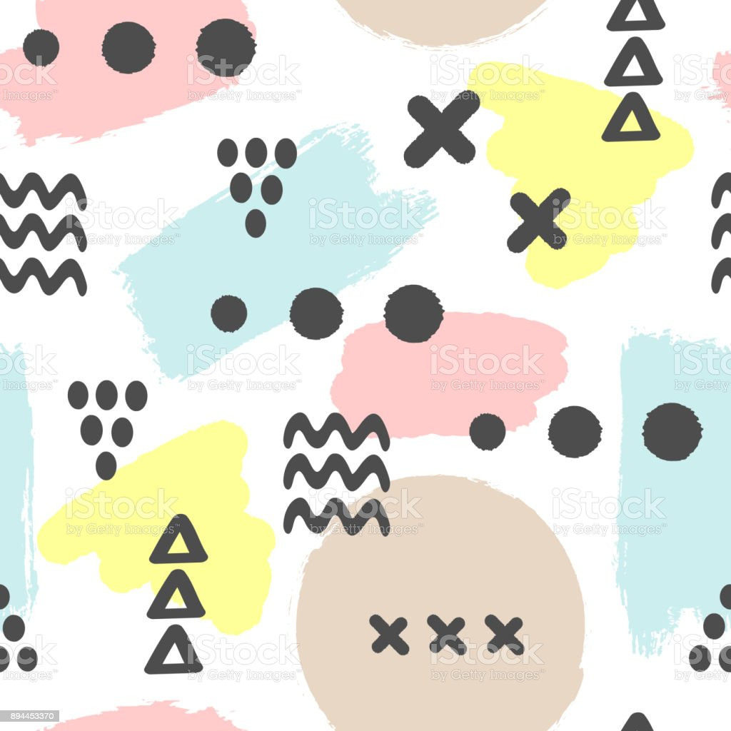 Modern seamless pattern with brush strokes and geometric shapes. Ink, sketch, grunge, watercolor, brushstrokes. White, blue, yellow, brown, black colour. vector art illustration