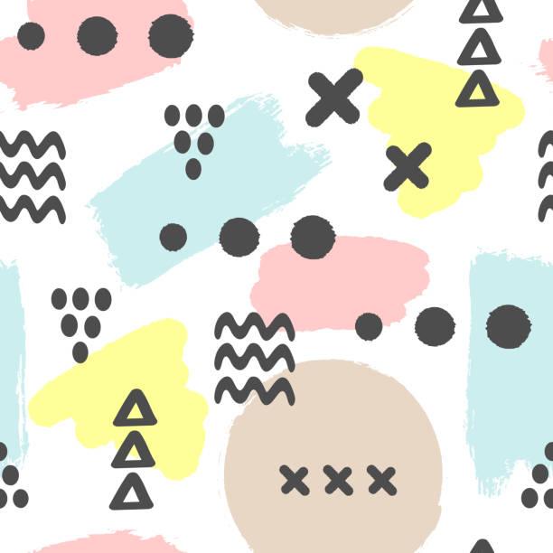 stockillustraties, clipart, cartoons en iconen met moderne naadloze patroon met penseelstreken en geometrische vormen. inkt, sketch, grunge, aquarel, penseelstreken. witte, blauwe, gele, bruine, zwarte kleur. - baby dirty