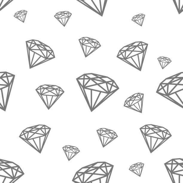 modern seamless pattern with diamonds. black jewerly pattern for modern fashion, cover, books, cloth - diamond shaped stock illustrations, clip art, cartoons, & icons