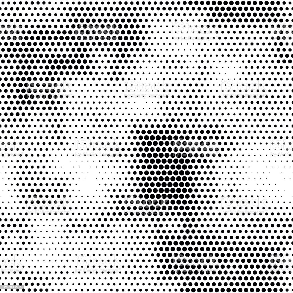 Modern seamless pattern with dots transition halftone vector art illustration