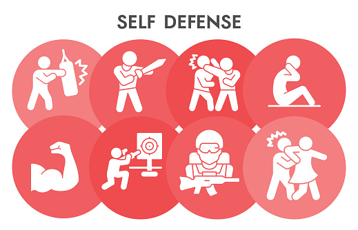 Modern self defense infographic design template. Security with and without weapons infographic visualization on white background. Preparation for protect. Creative vector illustration for infographic.