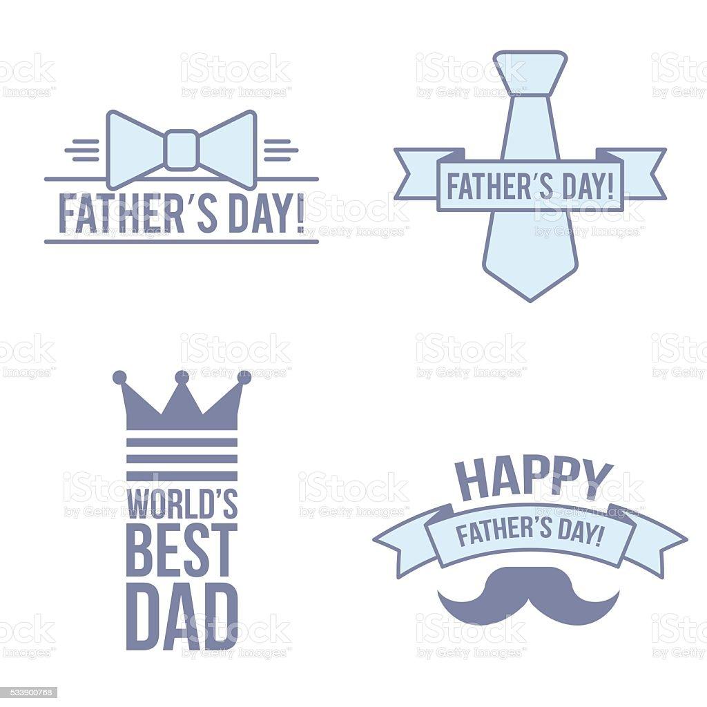 Modern set. Father day. Flat line isolated illustration. vector art illustration
