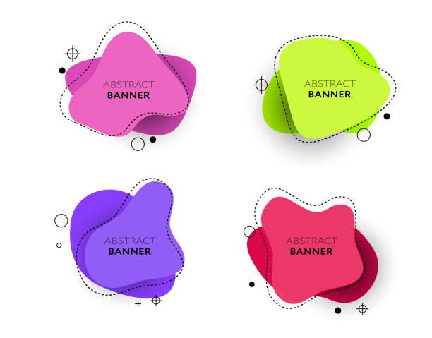 ilustrações de stock, clip art, desenhos animados e ícones de modern set of abstract banners. vector bright template banners. template ready for use in web or print design - amiba