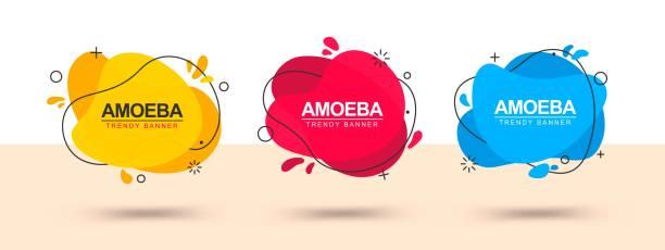 ilustrações de stock, clip art, desenhos animados e ícones de modern set of abstract banners - amiba