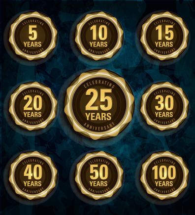 Modern set of golden metallic anniversary celebration laurels