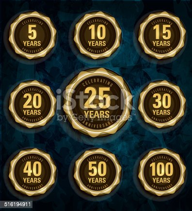 Modern set of Anniversary celebration laurels with glossy blue background.