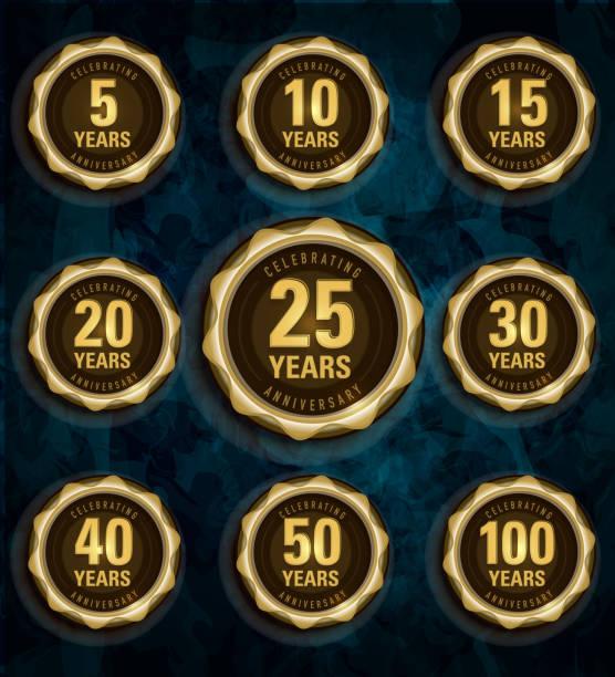 modern set of golden metallic anniversary celebration laurels - yıllık olay stock illustrations