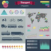 Modern set of infographics and icons city transport
