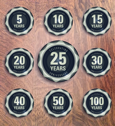 Modern set of pewter metallic anniversary celebration laurels