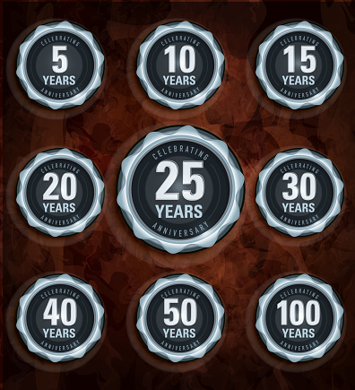 Modern set of silver metallic anniversary celebration laurels