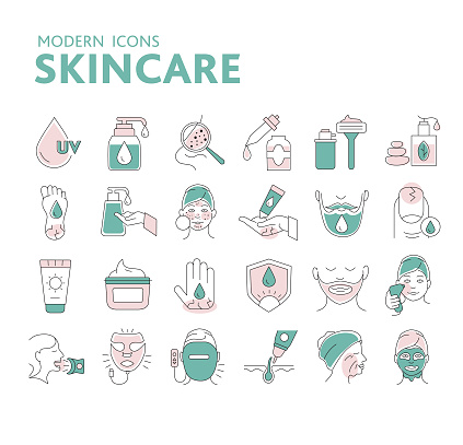 Modern set of thin line icons for skincare treatments