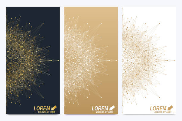 modern set of vector flyers. geometric abstract presentation. molecule and - swag stock-grafiken, -clipart, -cartoons und -symbole