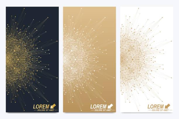modern set of vector flyers. golden cybernetic dots. lines plexus - swag stock-grafiken, -clipart, -cartoons und -symbole