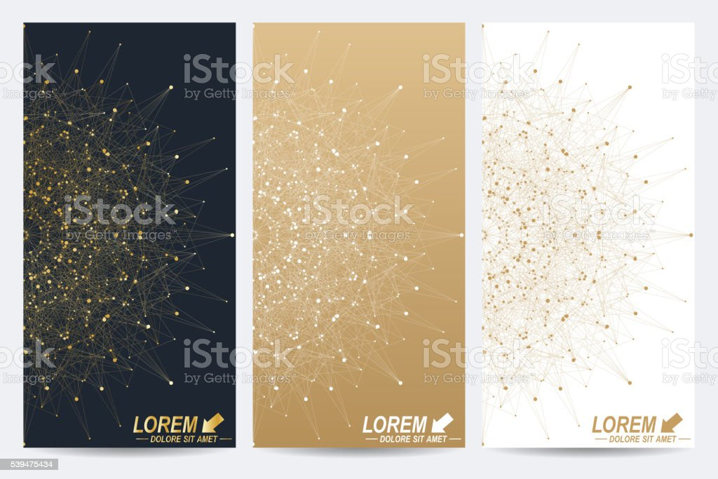 Modern set of vector flyers. Molecule and communication background. Geometric vector art illustration