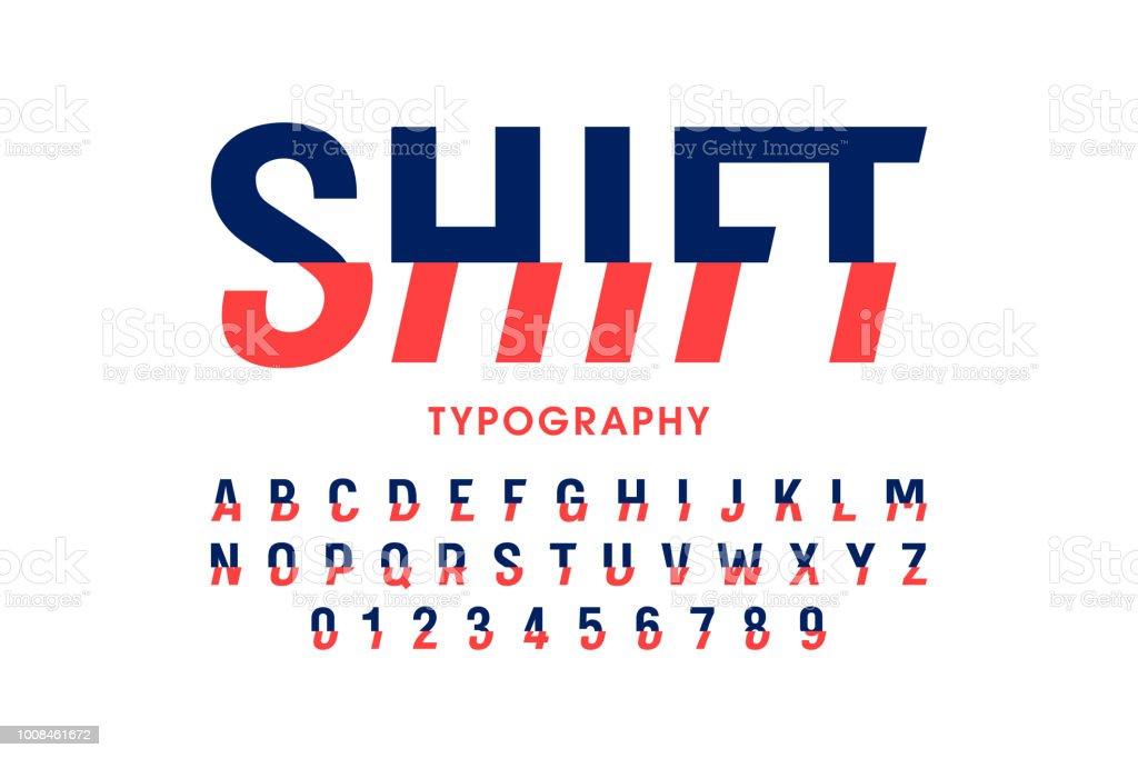 Modern shifted font vector art illustration