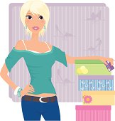 A modern young woman purchases new shoes with her credit card. Extra large JPG and Illustrator 8 compatible EPS are included. Background is on separate layer. Girl and shoes are on one layer but grouped separately.