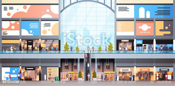 Modern Shopping Mall Interior With Many People Big Retail Store Flat Vector Illustration