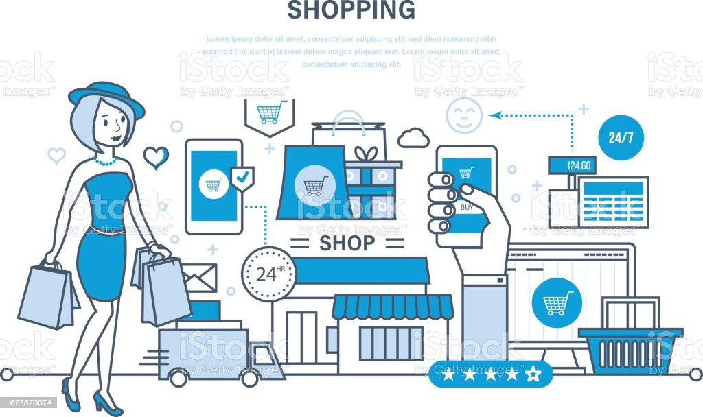 Modern shopping, online ordering system of products, secure payment, delivery royalty-free modern shopping online ordering system of products secure payment delivery stock vector art & more images of adult