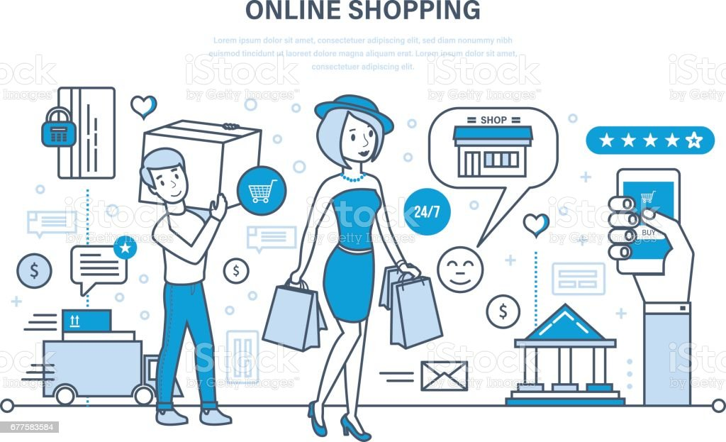 Modern shopping, online ordering system of products, secure payment, delivery vector art illustration