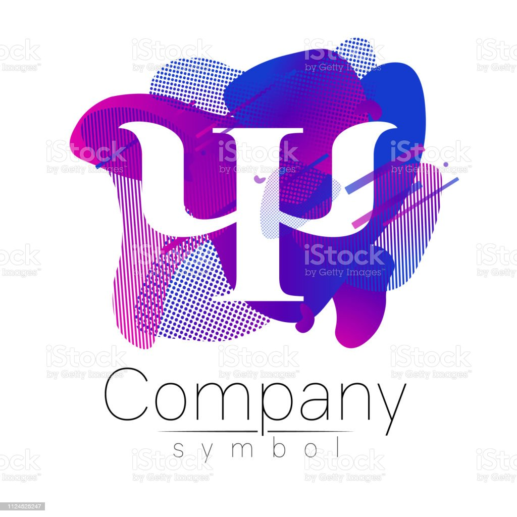 Modern sign of Psychology. Letter Psi Fluid style. Symbolin vector. Design concept. Gradient liquid isolated on white background. Abstract geometric shapes. Blue violet color