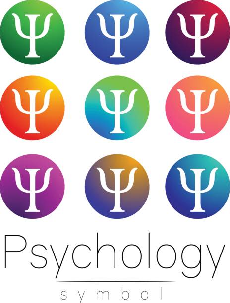 modern sign set of psychology. creative style. icon in vector. bright color letter on white background. symbol for web, print, card. - therapist stock illustrations