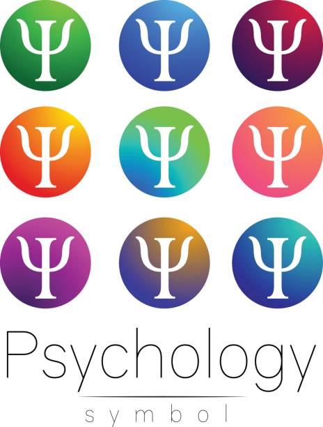 psikoloji modern işareti kümesi. yaratıcı tarzı. simge vektör. beyaz arka plan üzerinde parlak renk mektup. web, baskı, kart simgesi. - therapist stock illustrations