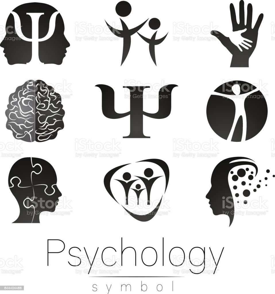 Modern Sign Set of Psychology. Creative style. Icon in vector. Grey color symbol on white background. Element for web, print, card. vector art illustration