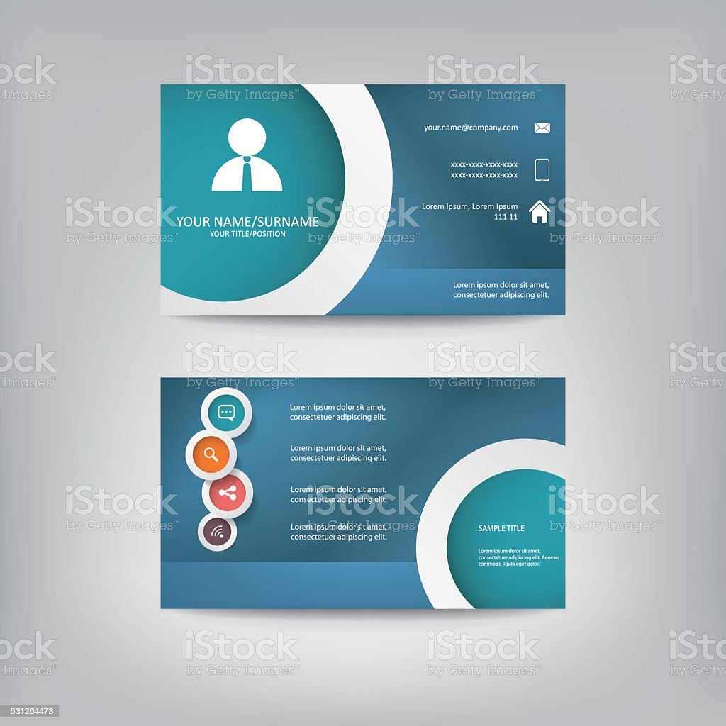 Modern Simple Business Card Template With Elegant Flat Design Stock ...