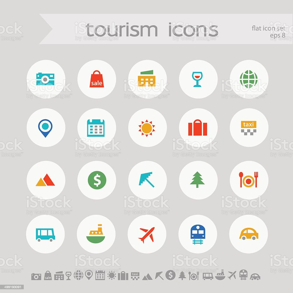 Modern simple colored tourism icons royalty-free stock vector art