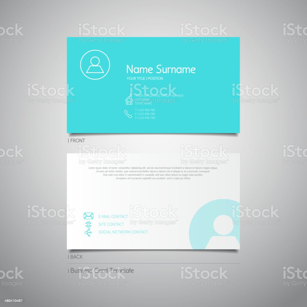 Modern Simple Design Business Card Template With Flat Ui Stock