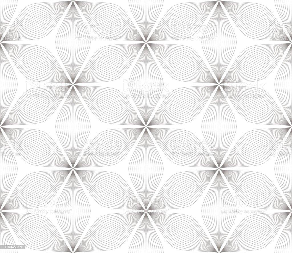 黒の花白の背景にラインテクスチャと現代のシンプルな幾何学的ベクトルシームレスなパターン光抽象花の壁紙明るいタイルの飾り ます目のベクターアート素材や画像を多数ご用意 Istock