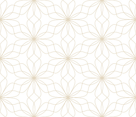 Modern simple geometric vector seamless pattern with gold flowers, line texture on white background. Light abstract floral wallpaper, bright tile ornament