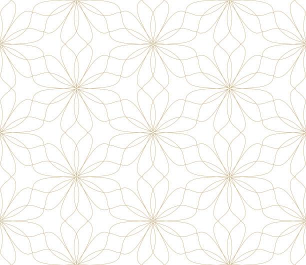 illustrazioni stock, clip art, cartoni animati e icone di tendenza di moderno semplice motivo vettoriale geometrico senza cuciture con fiori d'oro, texture di linea su sfondo bianco. carta da parati floreale astratta leggera, ornamento di piastrelle luminose - motivo ripetuto