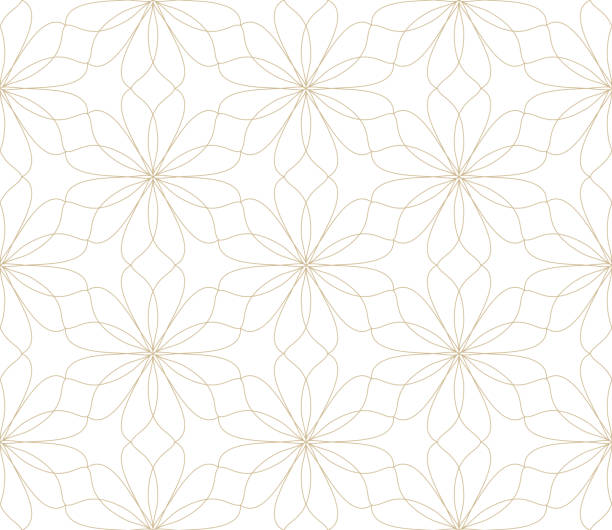 Modern simple geometric vector seamless pattern with gold flowers, line texture on white background. Light abstract floral wallpaper, bright tile ornament Modern simple geometric vector seamless pattern with gold flowers, line texture on white background. Light abstract floral wallpaper, bright tile ornament. himbeeren stock illustrations