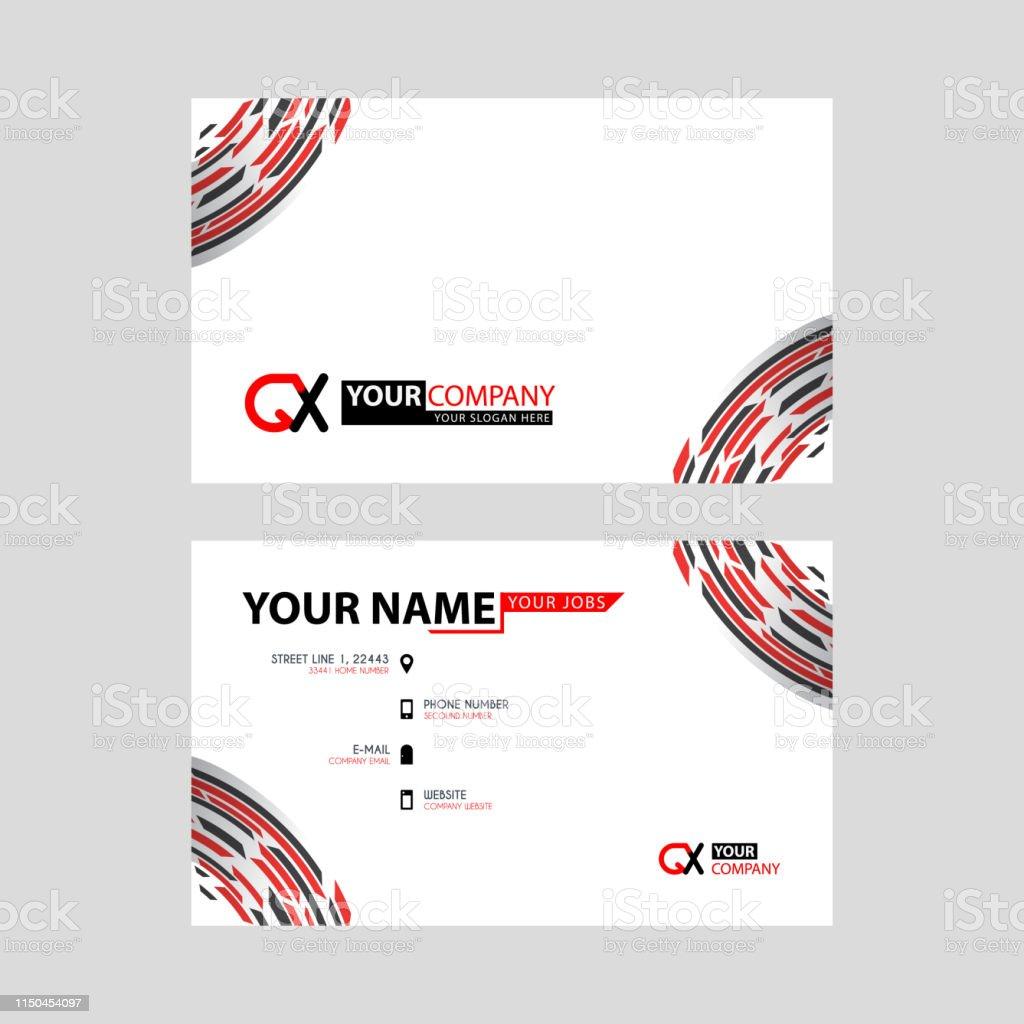 Moderne Einfache Horizontale Design Visitenkarten Mit Qxlogo
